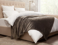 Cashmere Touch Fleece Blanket in Porcini Brown, side view.