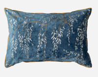Panache Pillow Shams feature Japanese-inspired willow branches in silver and antique gold printed on a beautiful deep teal velvet with gold piping.