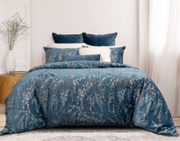 Panache Duvet Cover features Japanese inspired willow branches in silver and antique gold printed on a beautiful deep teal velvet.