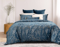 Panache Bedding Collection features Japanese inspired willow branches in silver and antique gold printed on a beautiful deep teal velvet.