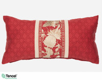Stratford Boudoir Cushion Cover features a vertical gold band on a red trellis background.