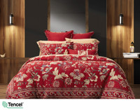 Stratford Duvet Cover features gold and blue Jacobean floral print on a red background.