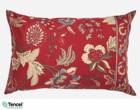 Stratford Pillow sham featuring gold and blue floral accents on a red background.