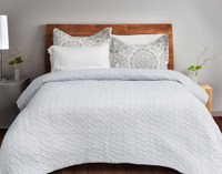 Adan Coverlet Set reverses to a solid white for a fuss free neutral look.