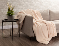 Faux Rabbit Plush Throw sherpa reverse in Blush Pink