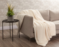 Faux Rabbit Plush Throw sherpa reverse in Cloud White