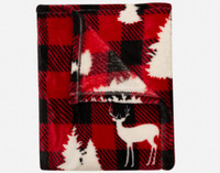 Close up of woodland creatures on red and black plaid.
