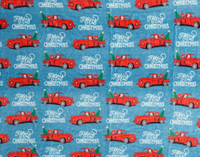 Close up of truck print on Holiday Fleece Throw - Red Truck.