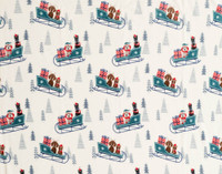 Close up of teal sleighs and dogs on Holiday Fleece Throw - Sleigh Ride.
