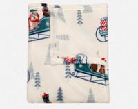 Close up of print on Holiday Fleece Throw - Sleigh Ride.