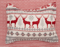 Prancer Pillow Sham featuring red reindeer and grey geometric print on a white background.