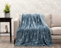 Diamond Etched Throw in Tidewater, a soft blue