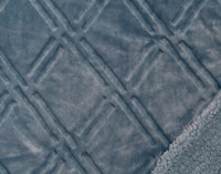 Close up of pattern and sherpa reverse of Diamond Etch Throw in Tidewater, a soft blue