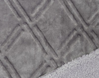 Close up of pattern and sherpa reverse of Diamond Etch Throw in Silver
