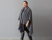 Cape Fleece Throw in Heathered Grey on model