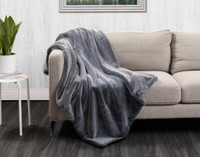 Faux Fur Throw in Kodiak Blue on couch