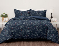 Sadie Duvet Cover Set features red and white botanicals on a deep navy blue background.