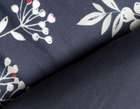 Sadie Duvet Cover Set reverses to a solid navy blue.