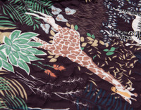 Close-up view of the Grasslands print featuring African flora and fauna on a warm chocolate brown background.