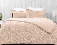 Front view of our Faux Rabbit Plush Comforter Set in Blush, a pale pink.