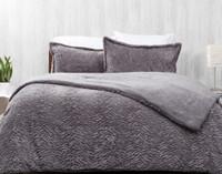 Faux Rabbit Plush Comforter Set in Graphite, a warm grey.