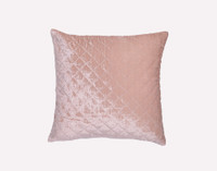 Velvet Cushion in Blush, a light pink, featuring a delicate diamond stitch pattern on faux silk fleece.