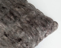 Carved Faux Fur Euro Sham - Pewter