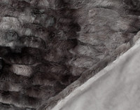 Side by side of faux fur front and soft velour reverse.
