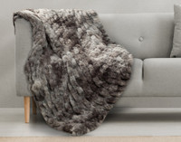 Carved Faux Fur Throw in Pewter.