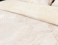 Mirasol Duvet Cover Set in beige with gold pattern, close-up of pattern