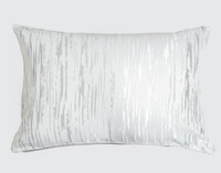Cloudburst Pillow Sham features silver striations on a white background.