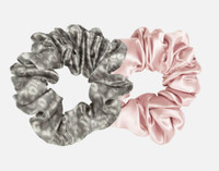 Silk Scrunchies in Silver Leopard, and Blush Pink.