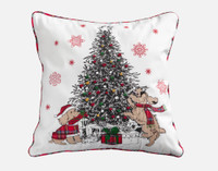 Festive Puppies Holiday Square Cushion Cover features two delightful brown puppies frolicking around a Christmas tree, on a white background filled with red snowflakes.