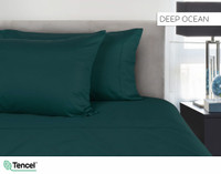 300TC TENCEL™ Lyocell Blend Sheet Set in Olivine, a deep blue green, teal colour