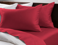 Cotton Rich Sheet Sets pictured in Cherry Red.