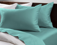 Cotton Rich Sheet Sets pictured in Turquoise.