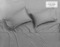 Supima® Cotton Pillowcases, flat sheet, and fitted sheet in Platinum Grey.