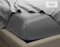 Close up of corner on Supima® Cotton Sheet Sets in Platinum Grey.