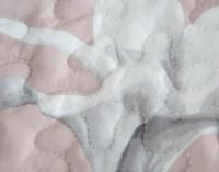 Close up of botanical print on Amaryllis Coverlet Set.