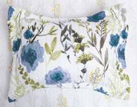 The Laken Pillow Sham features a blue and green botanical print on a white background.