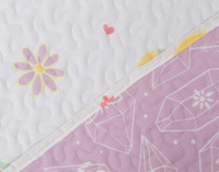 Shine Bright Coverlet Set close up of reverse and main side prints..
