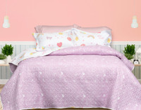 Shine Bright Coverlet Set, reverse side with a white gemstone print on a pink background.