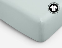 300TC Organic Cotton Fitted Sheets in Seaglass, a pale blue-green.