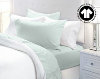 300TC Organic Cotton Sheet Sets in Seaglass, a blue green