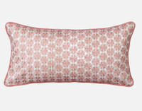 Mahana Boudoir Pillow Cover features a circular floral motif in terracotta satinstitch embroidery.
