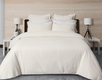 Zen Duvet Cover features a clean soft-white textured herringbone jacquard.
