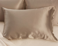 100% Mulberry Silk Pillowcase in Bronze shown with white bedding.