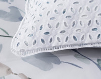 Closeup of eyelet fabric on Della Boudoir Cushion Cover.