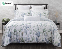 Della Duvet Cover features hand-painted watercolour vines in blue and green.