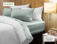 Bamboo Cotton Sheet Set in Jadeite, a pale celadon green.